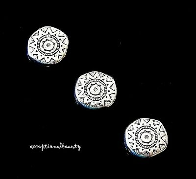 10 Antiqued Tibetan Silver 13mm Aztec Sun Flat Round Coin Spacer Metal Beads
