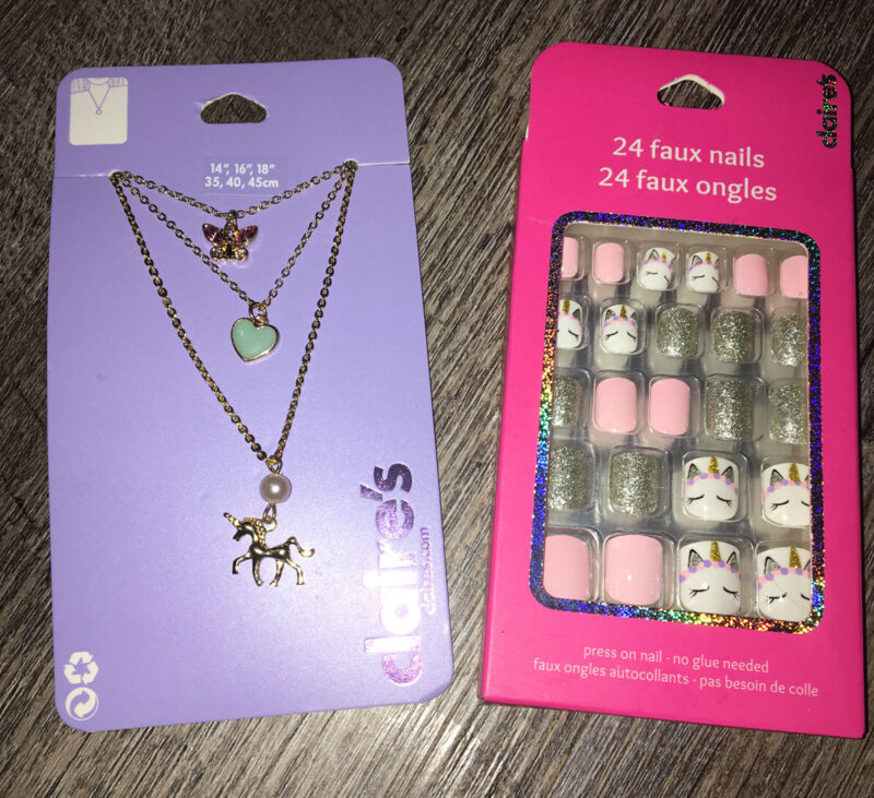 Claire's Unicorn Gold Butterfly Layered Necklace Jewelry Faux Stick On Nails Lot