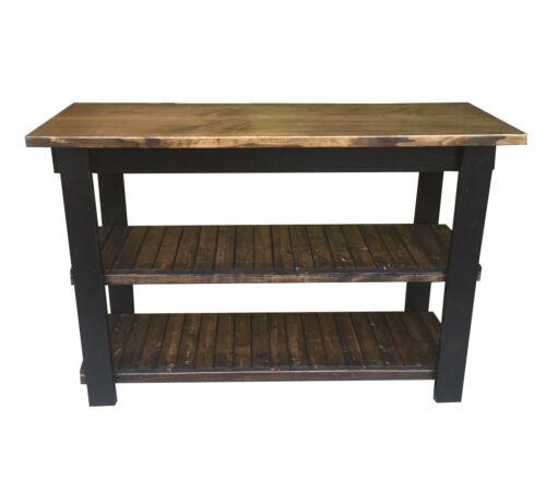 Dark Walnut Black Kitchen Island Work Space Kitchen Storage Bakers Table