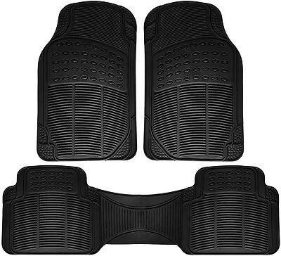 Car Floor Mats for Honda Civic 3pc Set All Weather Rubber Semi Custom Fit Black