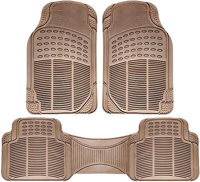 Car Floor Mats for All Weather Rubber 3pc Set Semi Custom Fit Heavy Duty Beige
