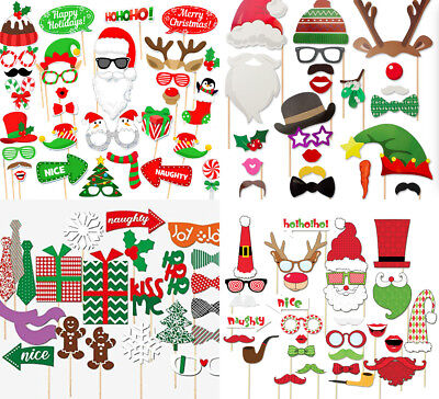 Christmas Xmas Santa Hat Party Masks Decoration Photo Booth Props Supplies Favor