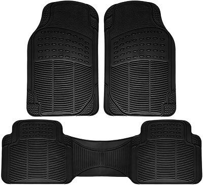 Floor Mats for SUVs Trucks Vans 3pc Set All Weather Rubber Semi Custom Fit Black