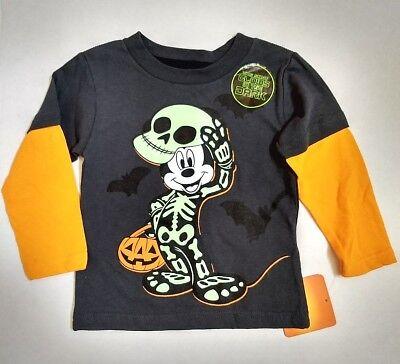 Disney Toddler Boy Mickey Mouse Skeleton Costume Glow in Dark Long Sleeve TShirt - Toddler Boy Skeleton Costume