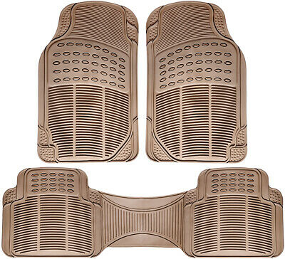 Car Floor Mats for All Weather Rubber 3pc Set Semi Custom Fit Heavy Duty Beige