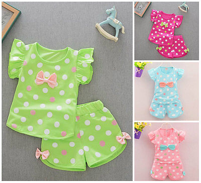 Toddler Kids Baby girls summer Outfits Clothes T-shirt &short Pants 2PCS set dot