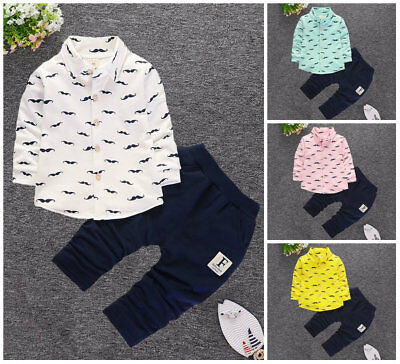 Baby Boys clothes Sets Tops + pants For School Birthday Kids Outfits cute beard