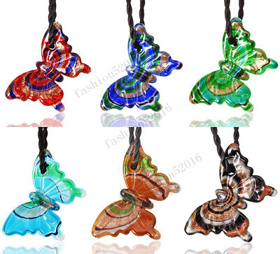 Lampwork Glass Pendant Necklace - FREE Lots 6X Animal Butterfly Lampwork Glass Pendants Weaving Cord Necklace