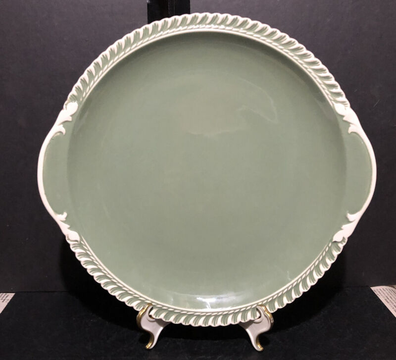 "Harkerware Chesterton Celadon Green Cake Platter Vintage 11"" (light scratches)"