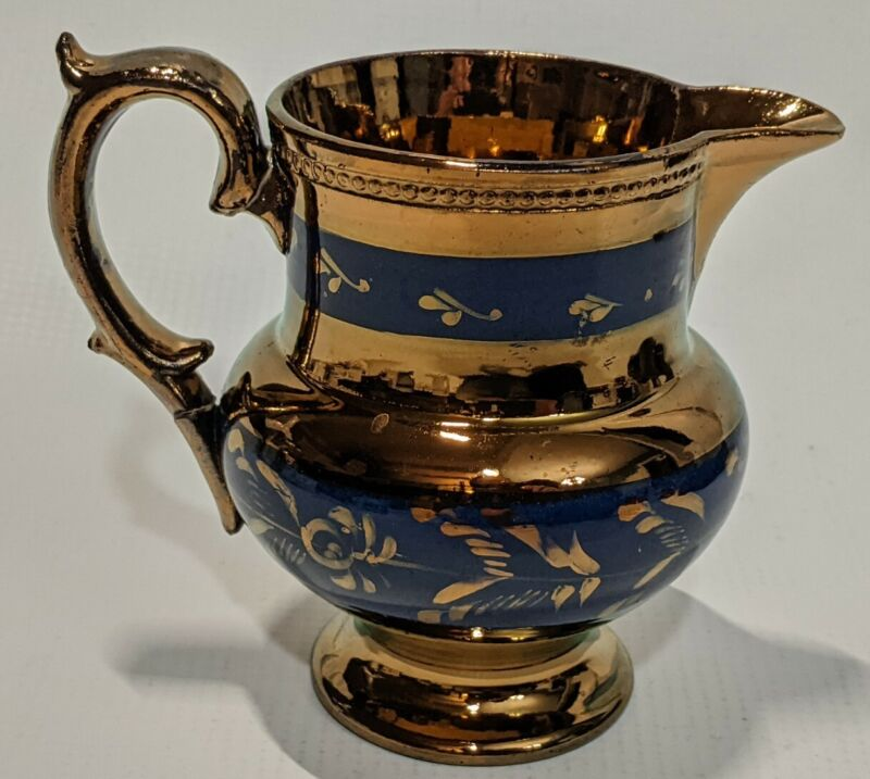 Antique? Copper LustreWare Creamerr (?) blue paint design luster ware