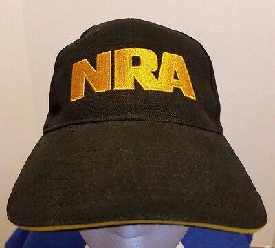 NRA Black Baseball Cap Hat Size Velcro Adjustable Closure US FLAG On Side