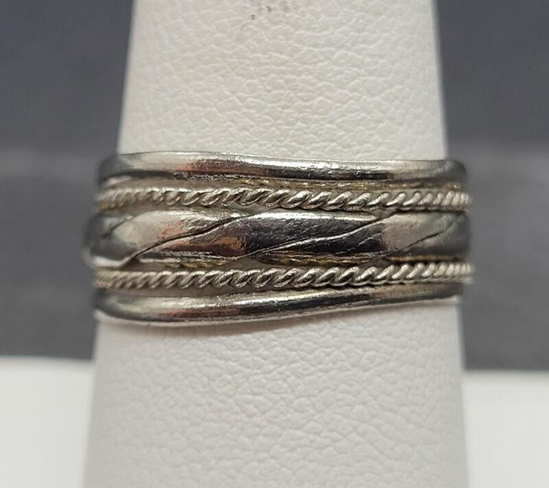 Vintage 925 Sterling Silver Modernist Rope Braids Size 8.25