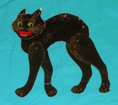 vintage Halloween LARGE JOINTED CAT DECORATION cutout (missing tail)