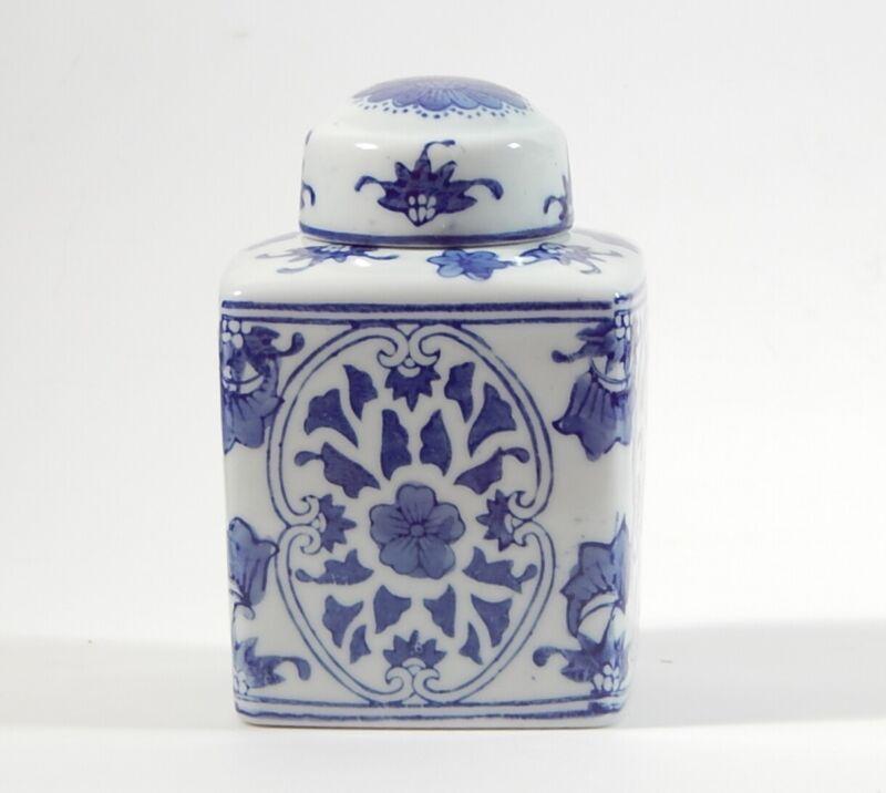 Chinese Blue & White Porcelain Square Ginger Jar