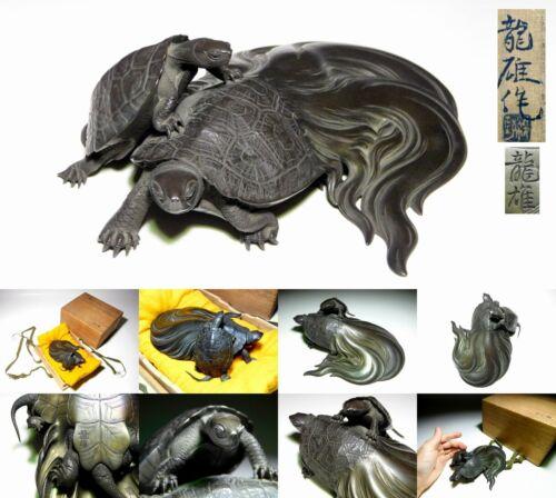 SUPERB MINOGAME Turtle Okimono Statue Japanese Meiji Taisho Original Antique