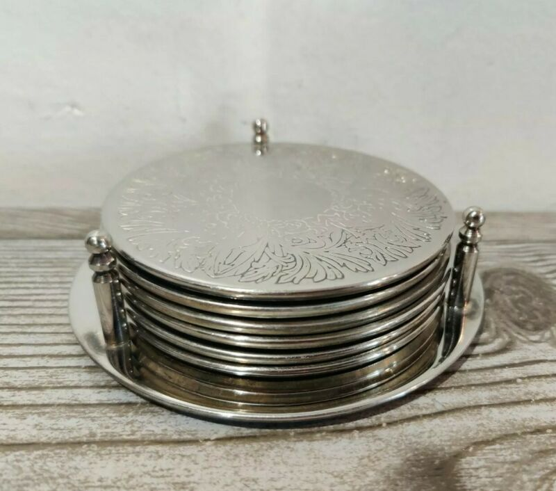 Vintage Set of 6 Silver-Plated Leather-Backed Coasters in Matching Caddy C17