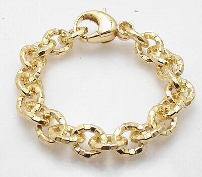 Bellezza Diamond Cut Oval Rolo Link Bracelet Lobster Clasp Solid Yellow Bronze