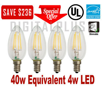 Candelabra 40W Replacement LED Light Bulbs GREENLIT E12 C12 Base 4W Dimmable - 40w B10 Candelabra Base Bulb