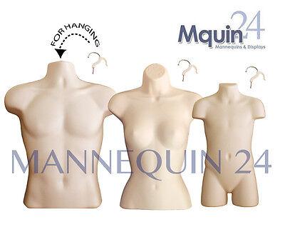 3 Flesh Mannequin Torsos -Set of Male Female Child Hanging Body Forms +3 Hangers
