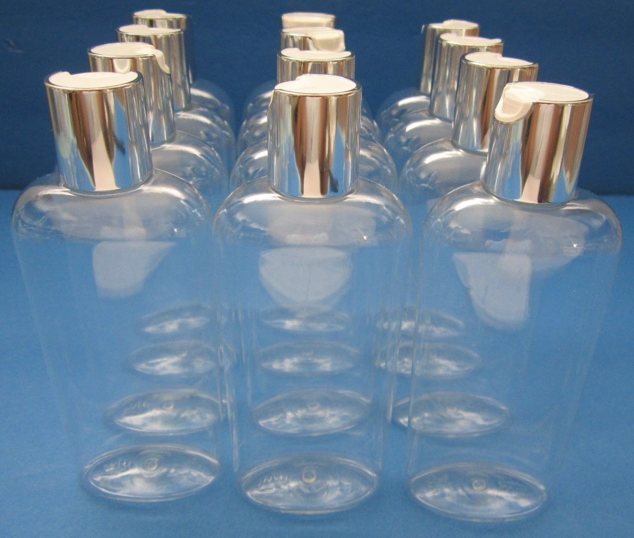 6 oz Qty 12 King PET Plastic Bottles Clear Oval Silver White