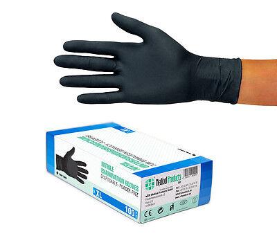 Nitril Handschuhe Einweg Einmal puderfrei ungepudert schwarz Gr XL 100 Stück Box