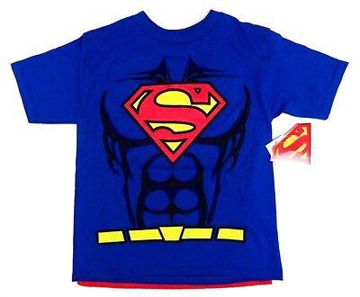 SUPERMAN T-Shirt mit Cape Jungen 116/122 blau Sommer USA neu boy 6/7 Jahre -