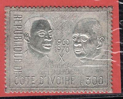 Ivory Coast SC299A Pres.CharlesDeGaulle&H.Boigny-Silve/10thAnniv.Independ MNH'70