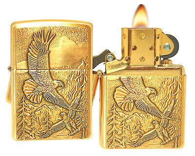 Zippo Lighter 20854 Where Eagles Dare Emblem Brushed Brass Windproof Classic NEW