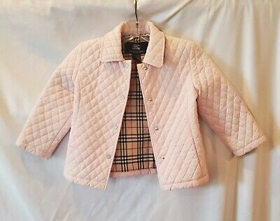 Burberry Baby Girls Size 4 Blush Pink Quilted Classic Nova Check Coat