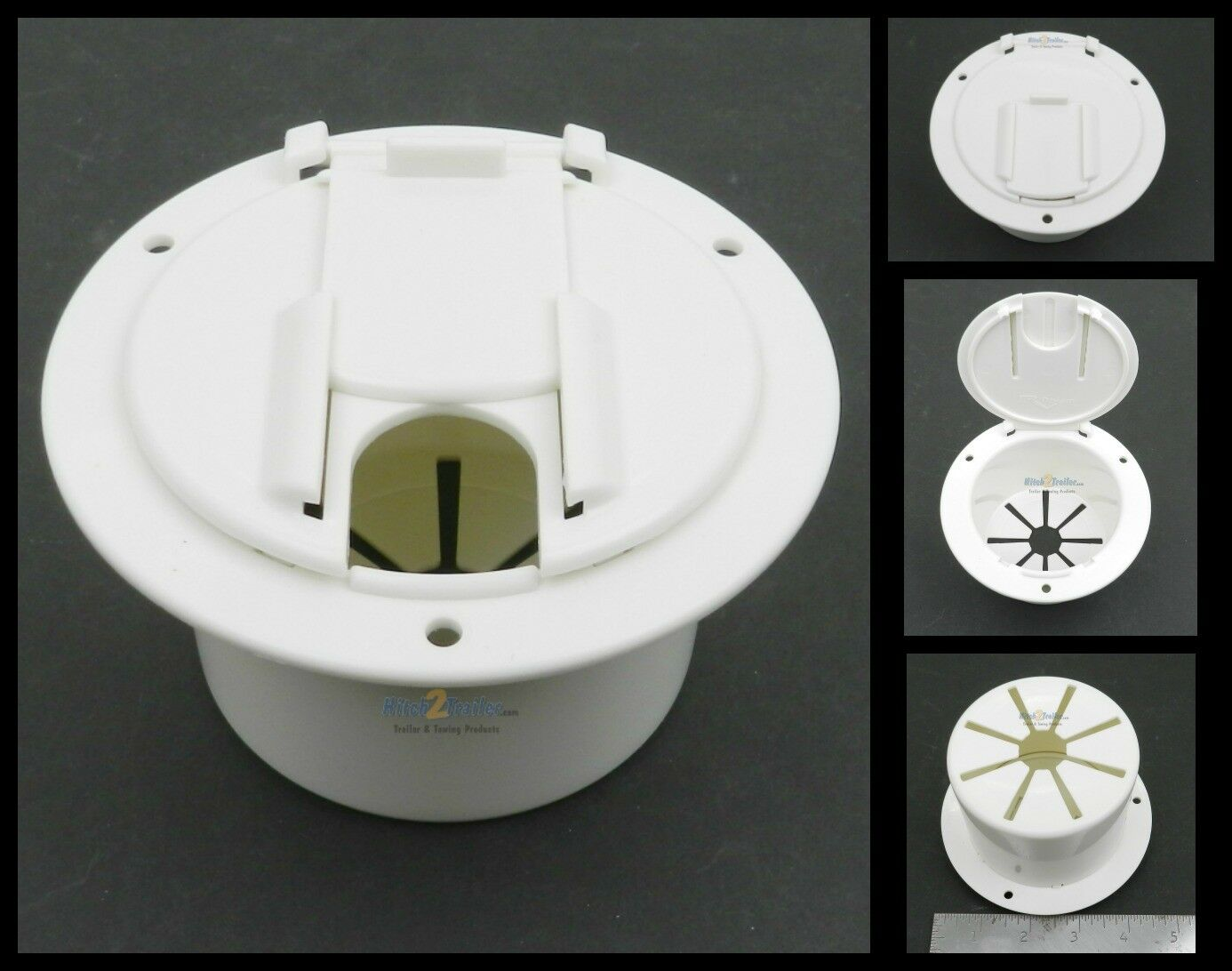 """White Round Cable Hatch 3.5"""" round Cutout for Electric Power Cord Medium"""