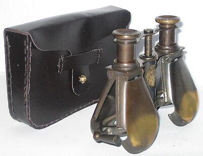 Militär Fernglas, aus Messing zum Klappen, Nostalgie Stil, mit Ledertasche