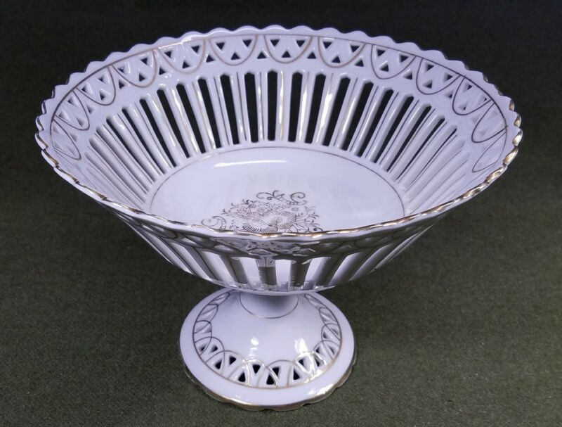 "Antique Footed White Porcelain Reticulated 9"" Compote Bowl Dish Mantel Shelf VGC"