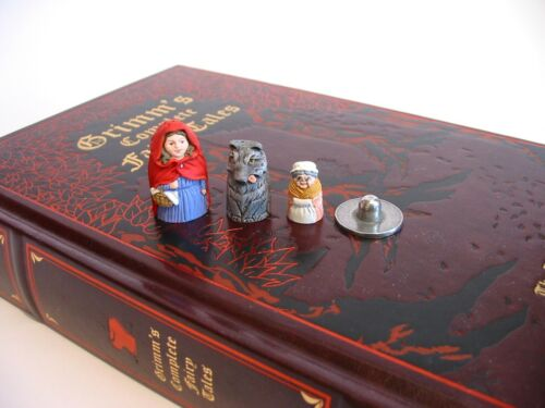 Red Riding Hood Russian Doll Thimbles - Hand Painted Pewter Collectors Thimbles