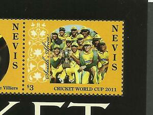 NEVIS-2011-CRICKET-WORLD-CUP-South-Africa-Team-Sheet-with-ERROR-Value-MNH
