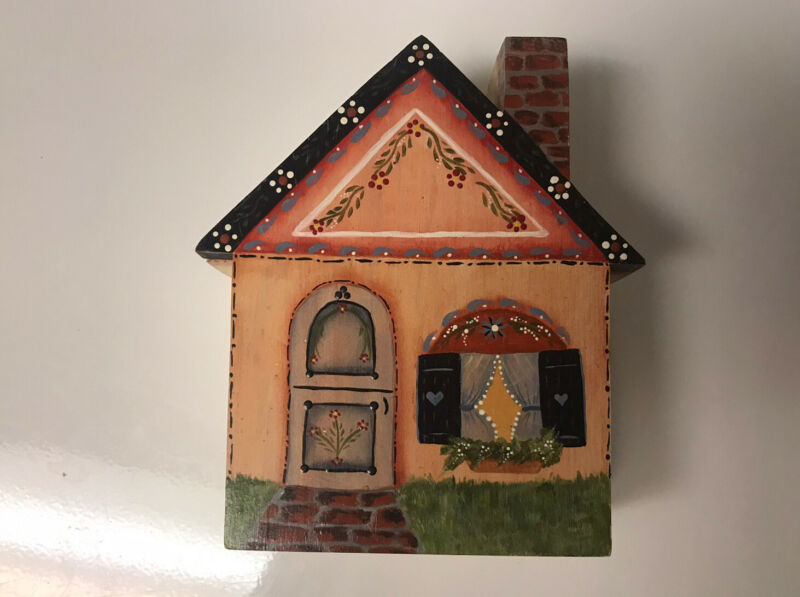 Unique Wood Cottage Trinket Box 8in Tall Village Holds A Secret A23