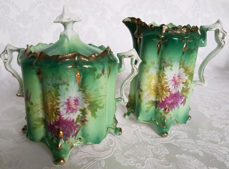 ANTIQUE SAXE ALTENBURG GERMANY FOOTED CREAMER AND SUGAR BOWL HAND PAINTED