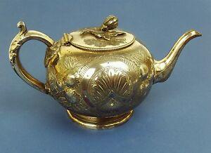 Antique Victorian Silver Sheffield Plate Teapot Rococo Design