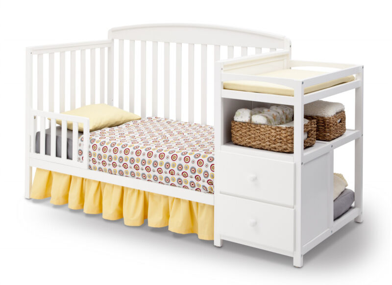 4-in-1  White Convertible Crib + Changer Bedding Not Included Nursery Room