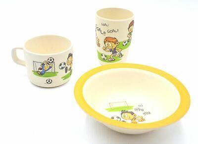 3 Piece Bamboo Dinnerware for Kids, Goblet Cup & Bowl Set Eco Friendly 3 Piece Kids Dinnerware Set