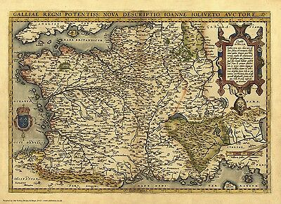 France in 1570 - reproduction of a map by Abraham Ortelius
