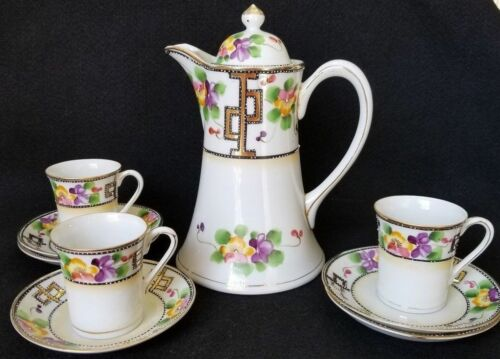 ANTIQUE NIPPON PANSY CHOCOLATE POT WITH CUPS & SAUCERS 10 PEICE