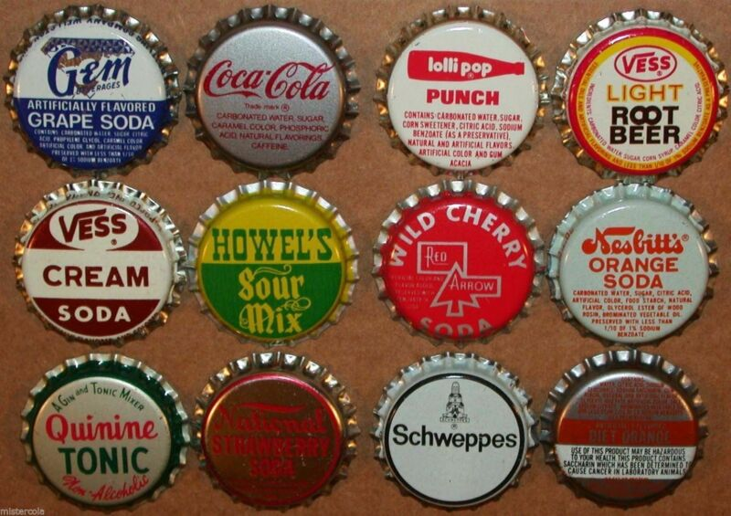 Vintage soda pop bottle caps 12 ALL DIFFERENT plastic lined mix #4 new old stock