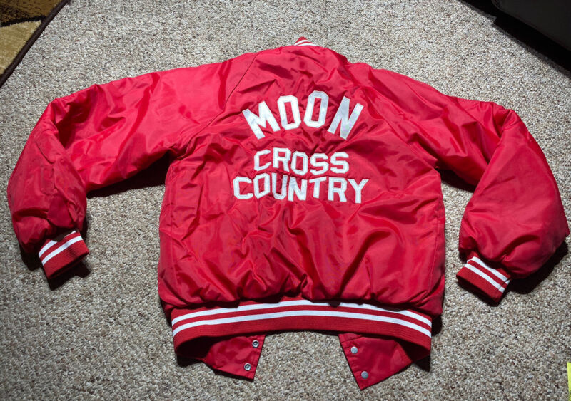 VINTAGE PITTSBURGH PA MOON COUNTY VARSITY CROSS COUNTRY JACKET USA 80s SZ 34-36