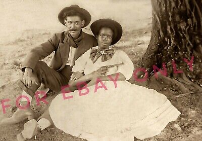 Vintage 1899 Photo reprint of a African American Black Woman & Gun & Mexican Man