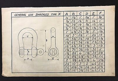 Harland & Wolff 1930's Original Eng Drawing - GENERAL USE SHACKLE TYPE A (P3)