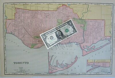 1898 DATED TORONTO Wall Map 1800s Map Art Print Decor CANADA. PARKDALE ROSEDALE - $18.00