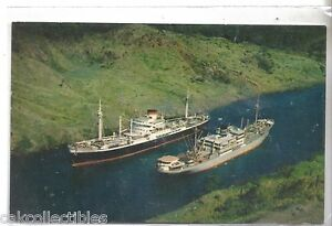 Two Ocean Liners in Culebra Cut-Panama Canal
