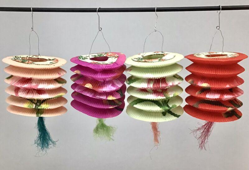 Japanese Chinese Paper Lanterns Set Of 4 Vintage Hand Painted - Hong Kong 003
