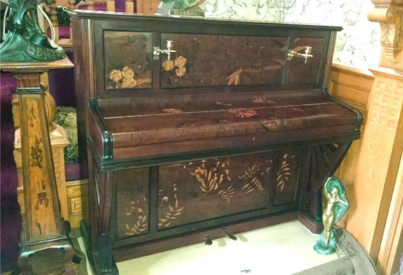 Rare Art Nouveau Marquetry Inlaid Piano Paris 1900 Japonisme Style by A. Bord