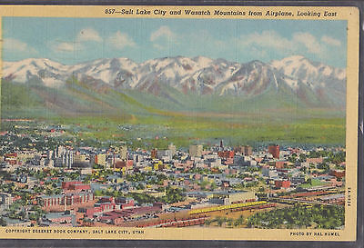 Salt Lake City And Wasatch Mountains From Airplane Looking East 1946   77